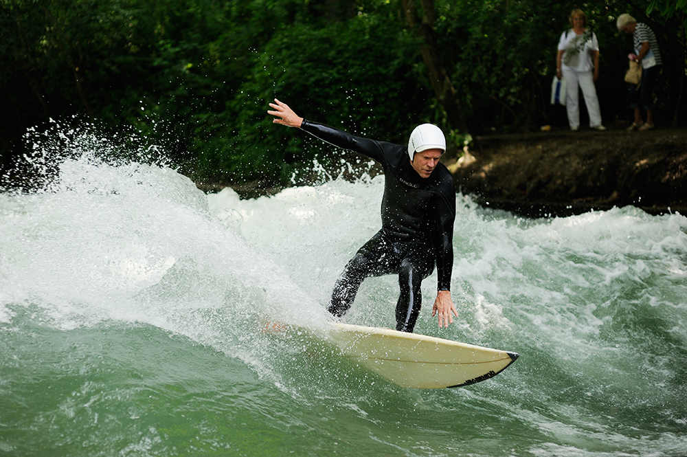 Dieter Deventer, one of the River Surfing starters, still surfs in the Eisbach.