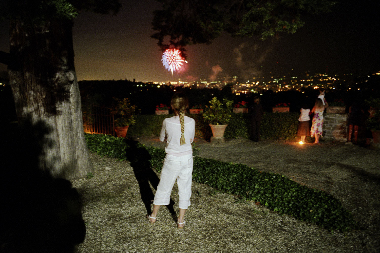 Looking at fireworks over Florence at Villa Poggio agli Ulivi.