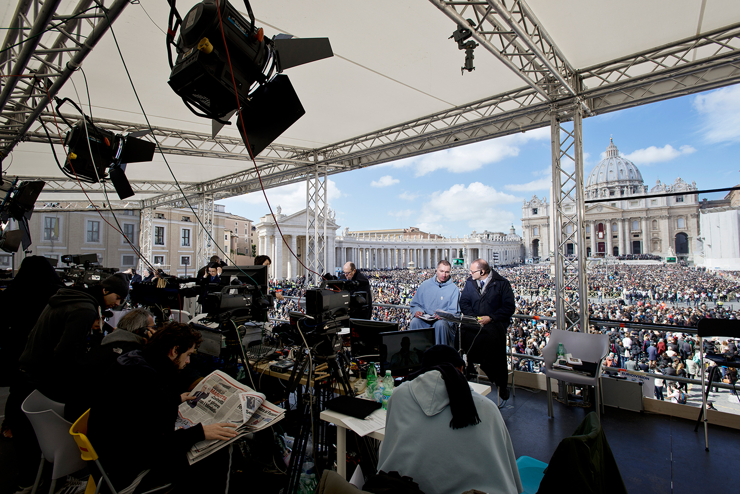 During the mass for the beginning of the Petrine ministry of Pope Francis.